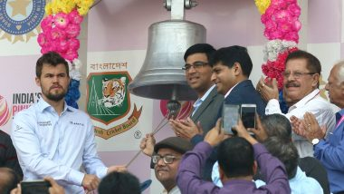 Magnus Carlsen and Viswanathan Anand Ring Bell at Eden Gardens on Day 2 of India vs Bangladesh Pink-Ball Test