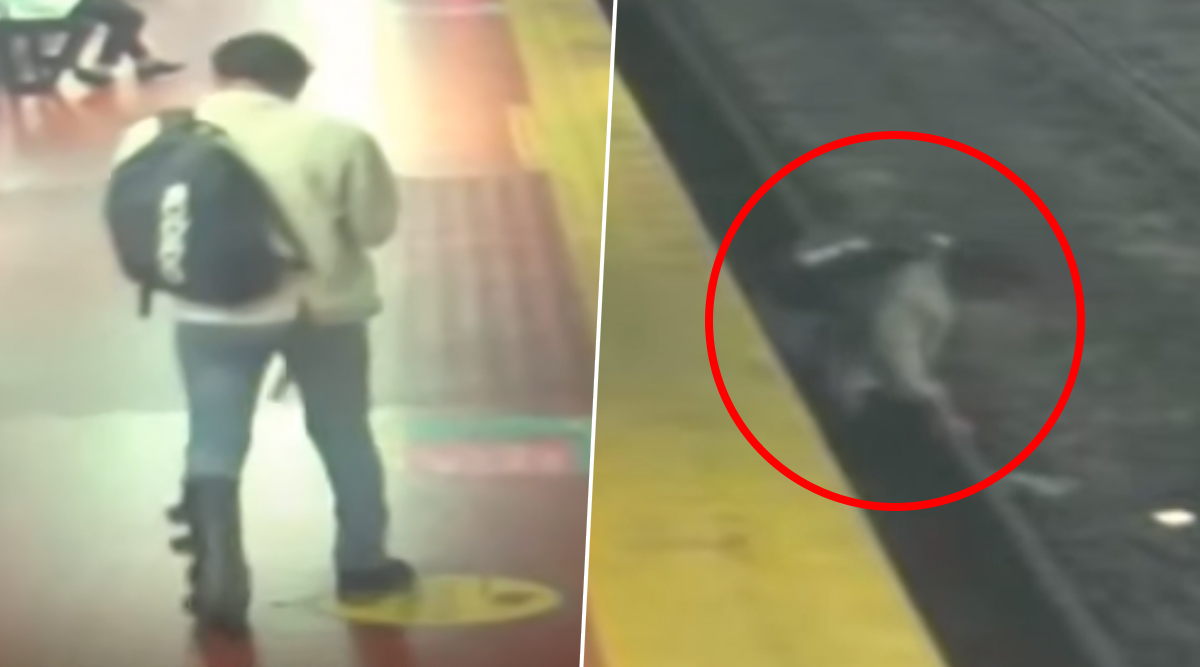Man Busy On Phone Slips And Falls Onto Buenos Aires Railway Tracks in Argentina (Watch Video)