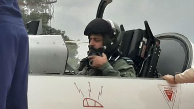 IAF Chief Marshal Rakesh Kumar Singh Bhadauria Flies Sortie in HTT-40 Trainer Aircraft