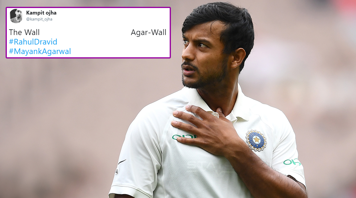 Mayank Agarwal Hits Double Ton in IND vs BAN 1st Test, Netizens Hail 'Agar-Wal' While Comparing Him to 'Wall' Rahul Dravid!