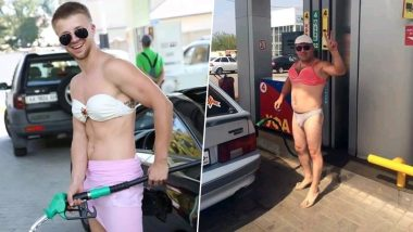 Men Dress Up in Bikinis and Two-Pieces to Get Free Fuel at Russian Petrol Pump, View Viral Pics!
