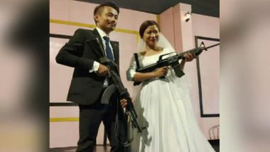 Naga Rebel's Son Bohoto Kiba, Bride Brandish Assault Rifles At Wedding Reception in Nagaland