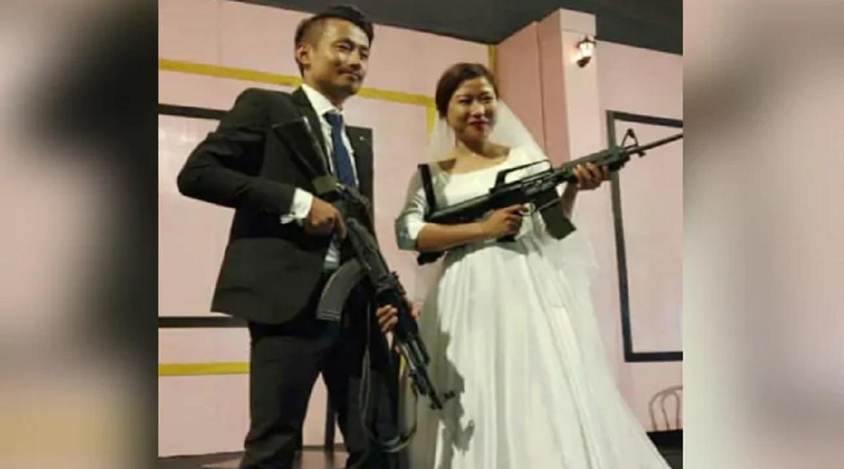 Naga Rebel's Son Bohoto Kiba, Bride Brandish Assault Rifles At Wedding Reception in Nagaland