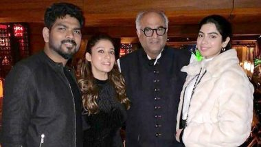 Nayanthara Poses With Vignesh Shivan, Boney Kapoor and Khushi in the US (View Pic)