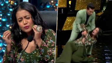 Indian Idol 11 Judge Neha Kakkar FALLS on Stage While Grooving on 'Dilbar' Song With Aditya Narayan (Watch Viral Video)
