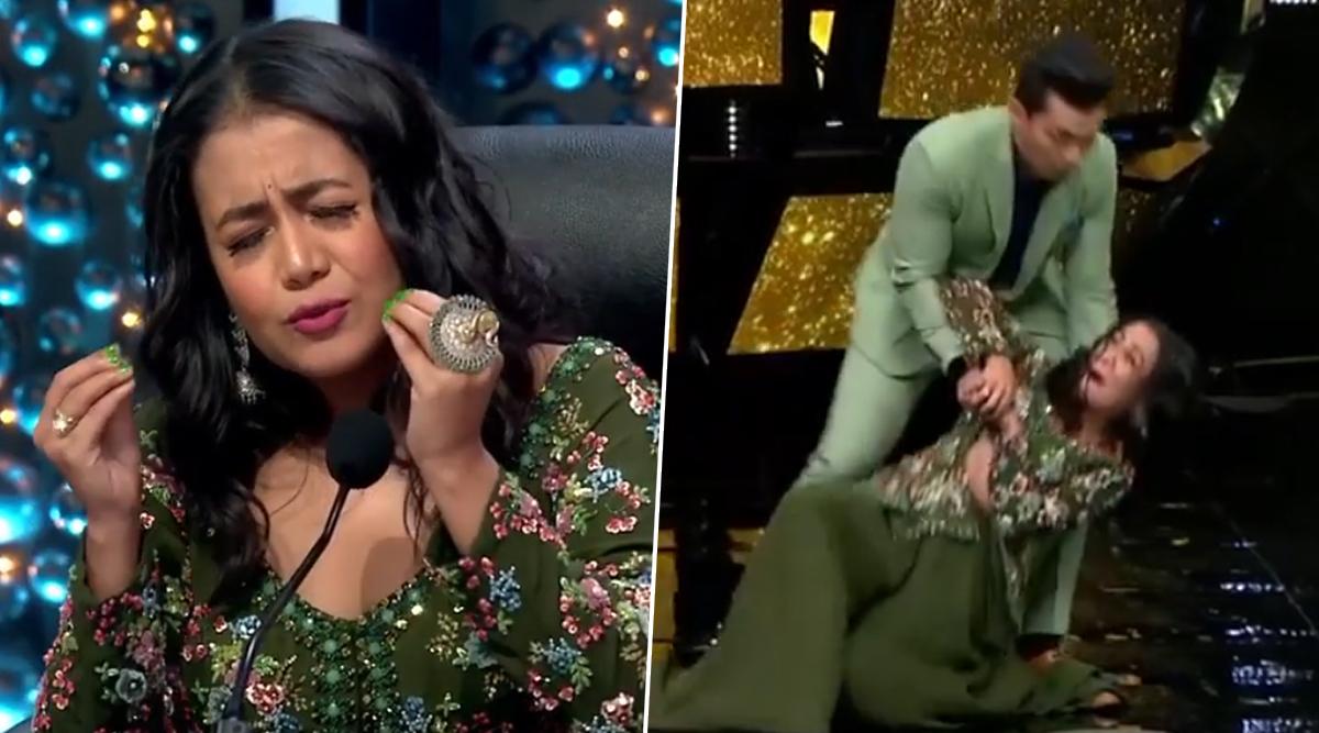 Indian Idol 11 Judge Neha Kakkar FALLS on Stage While Grooving on 'Dilbar' Song With Aditya Narayan (Watch Viral Video)