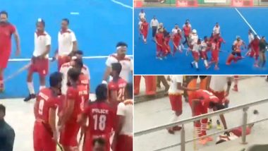 Fight Breaks Out Between Punjab Police and PNB During Nehru Hockey Final (Watch Video)