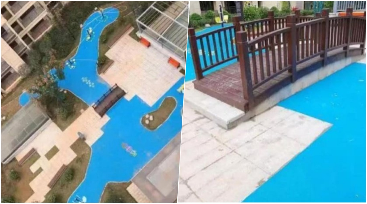 Made in China? Homebuyers in Chinese Complex Fooled by Plastic Lake Instead of Promised 'Park Views' (Watch Video)