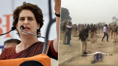 Priyanka Gandhi Shares Video of Brutal Police Crackdown at Unnao Farmers' Protest, Slams UP CM Yogi Adityanath