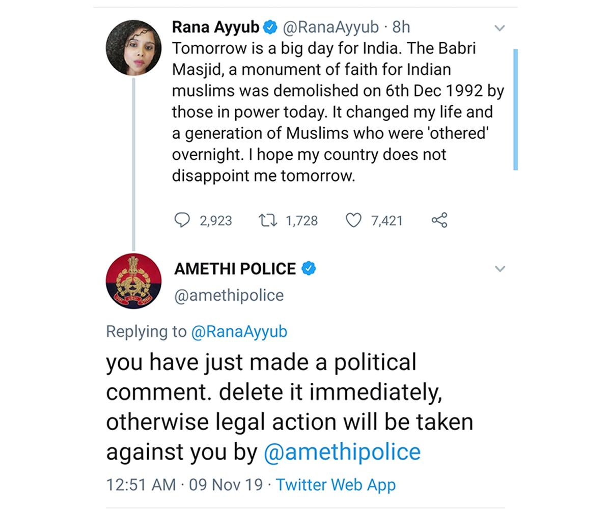 Rana Ayyub's tweet ahead of Ayodhya Verdict (Photo Credits: Twitter screenshot)