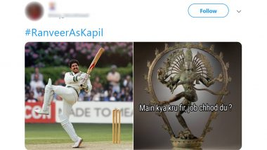 Ranveer Singh's Resemblance to Kapil Dev's Natraj Shot For 83 The Film Inspires Funny Memes and Jokes