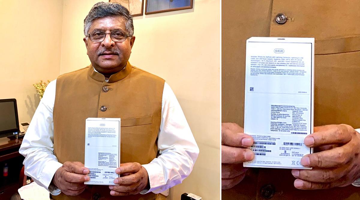 IT and Telecom Minister Ravi Shankar Prasad Displays Locally Assembled Apple iPhone XR on Twitter
