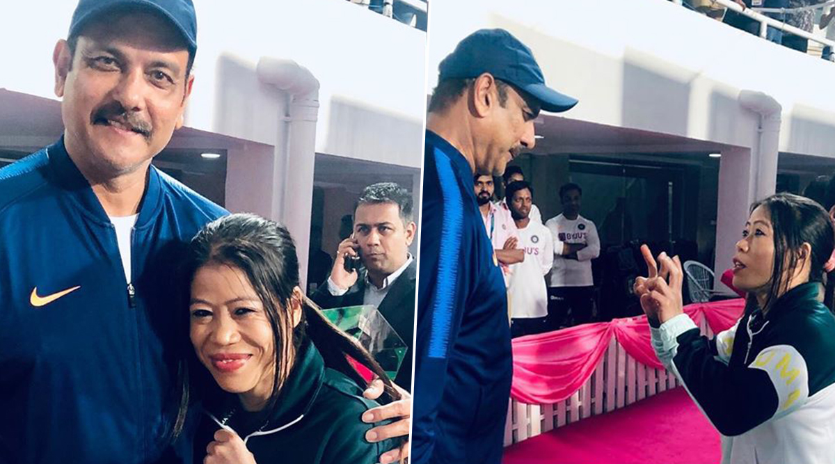 Ravi Shastri and Boxing Legend Mary Kom Strike a Pose at Eden Gardens During Day-Night Test Match, India Head Coach Shares Pic on Instagram