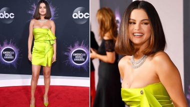 Selena Gomez Makes Red Carpet Comeback at 2019 AMAs in Fluorescent Green Outfit!