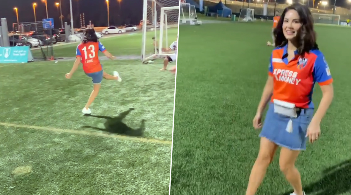 Sunny Leone Shows Off Her Football Skills Post Bangla Tigers vs Delhi Bulls' Nail-Biting Match in Abu Dhabi T10 League 2019 (Watch Video)