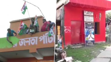 West Bengal By-Election Results 2019: TMC Workers Hoist Party Flag and Paint 4 BJP Offices in North 24 Parganas After Victory