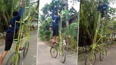 Is This The Tallest Bicycle Ever? Video of Malaysian Boy Riding 3-Metre High Cycle Goes Viral