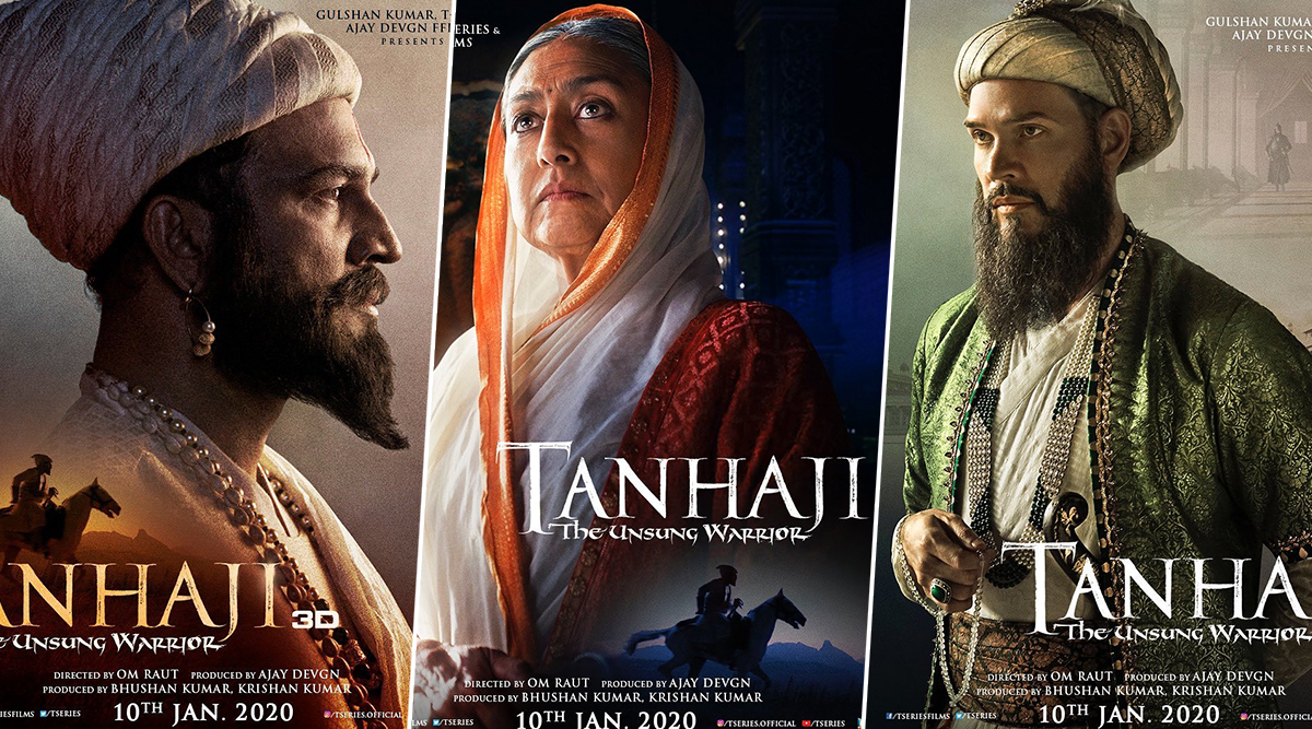 Tanhaji: The Unsung Warrior: Ajay Devgn Shares Impressive Posters of On-Screen Chhatrapati Shivaji Maharaj, Jijamata and Aurangzeb (View Pics)