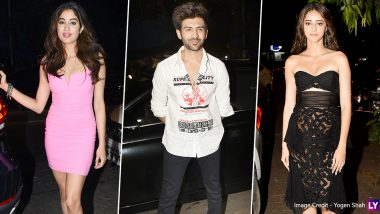 Ananya Panday, Janhvi Kapoor and Others Spotted at Kartik Aaryan's Birthday Bash (View Pics)