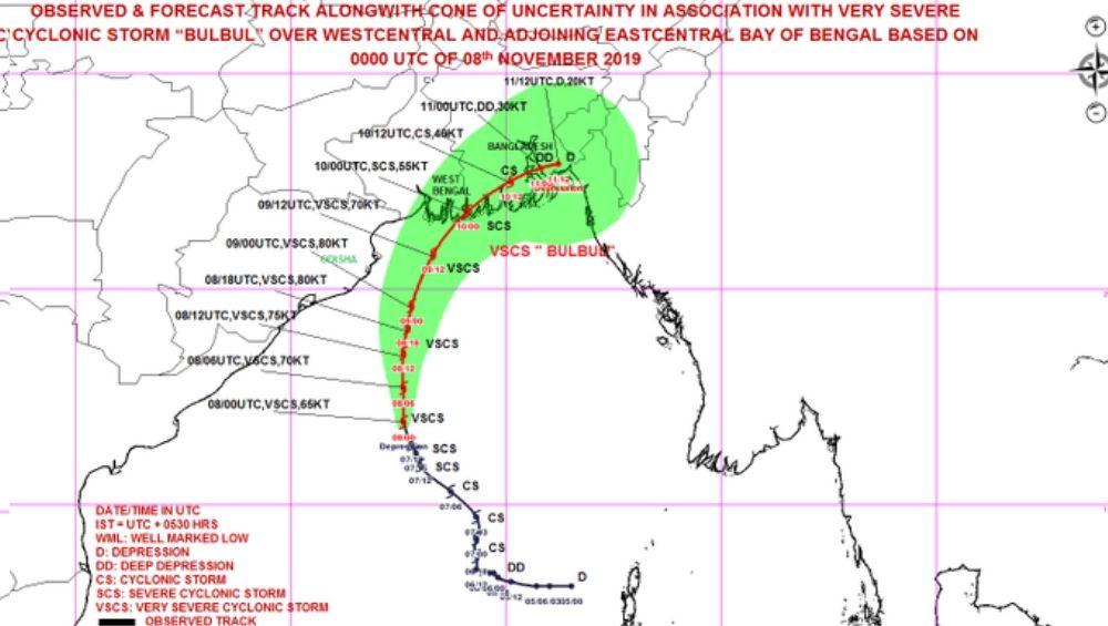 Cyclone Bulbul Intensifies Into Severe Cyclonic Storm, To Cross West Bengal & Bangladesh Coast on November 10