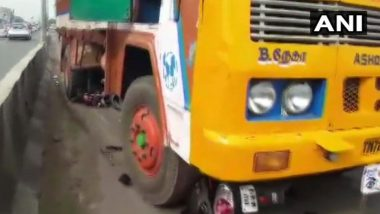 Chennai: Woman on Scooter Hit by Truck While Avoiding AIADMK Pole, Two-Months After Subashree's Horrific Road Accident