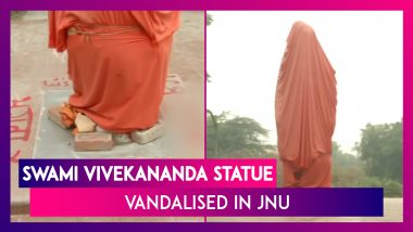 Swami Vivekananda's Statue Vandalised By Miscreants Inside JNU, Decorated Later