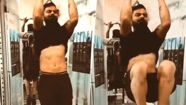 Virat Kohli Flaunts His Chiseled Abs While Hitting the Gym Hard Ahead of India vs Bangladesh, 2nd Test 2019 (Watch Video)