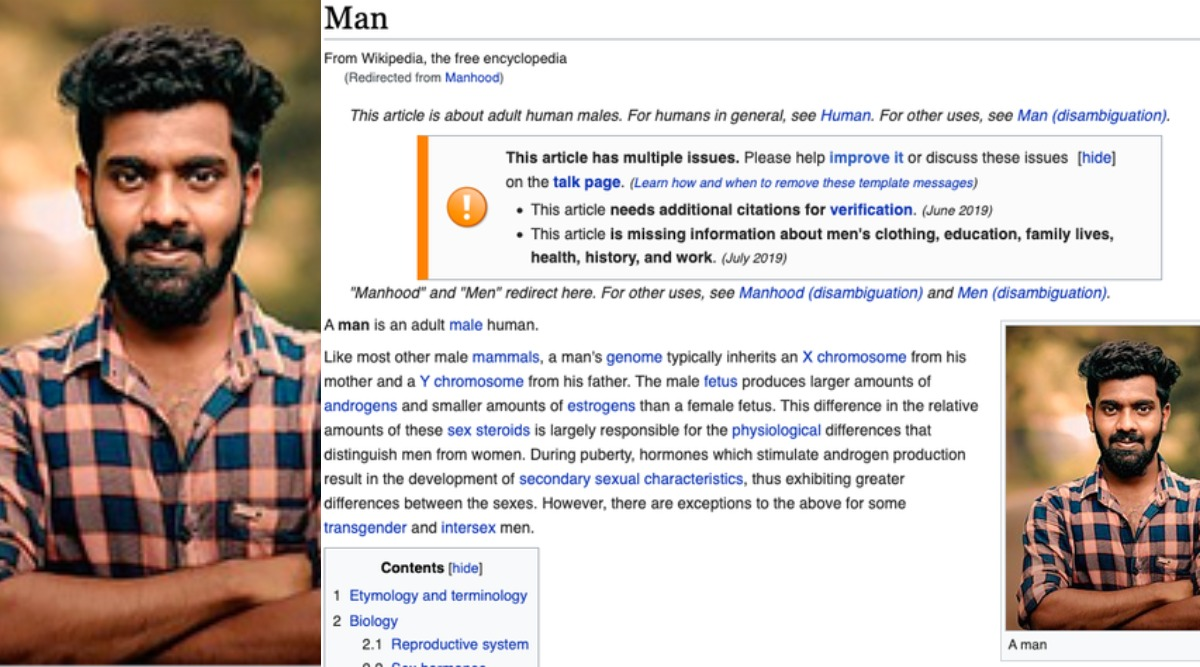 Wikipedia Page of 'Man' Updated With Photo of Malayali Guy, Know Who He Is