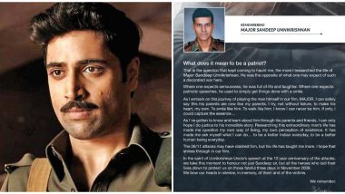 'Major' Actor Adivi Sesh Posts a Beautiful Note for Major Sandeep Unnikrishnan on the Anniversary of 26/11 Attacks