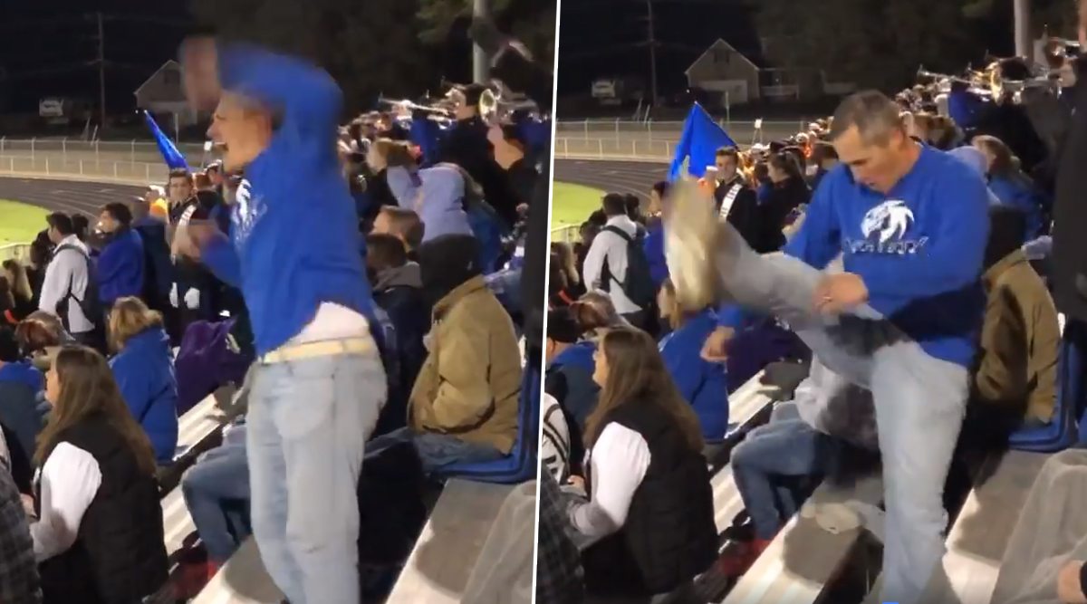Cheering Dad Sets Parenting Goals: Father Mimics Daughter's School Cheerleading Squad at Football Match (Watch Viral Video)