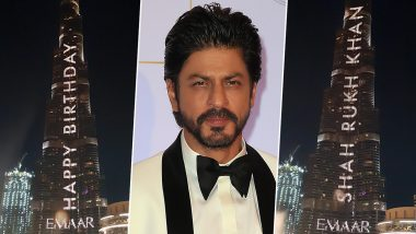 For Shah Rukh Khan's 54th Birthday, World's Tallest Building, Burj Khalifa in Dubai, Lit Up In His Honour (Watch Video)