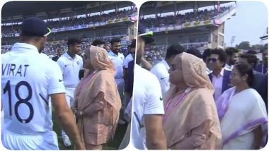 Sheikh Hasina and Sachin Tendulkar Greet Virat Kohli & Co, Bangladesh PM & Mamta Banerjee Ring The Bell Ahead of IND vs BAN, Pink Ball Test 2019 (See Pics & Videos)