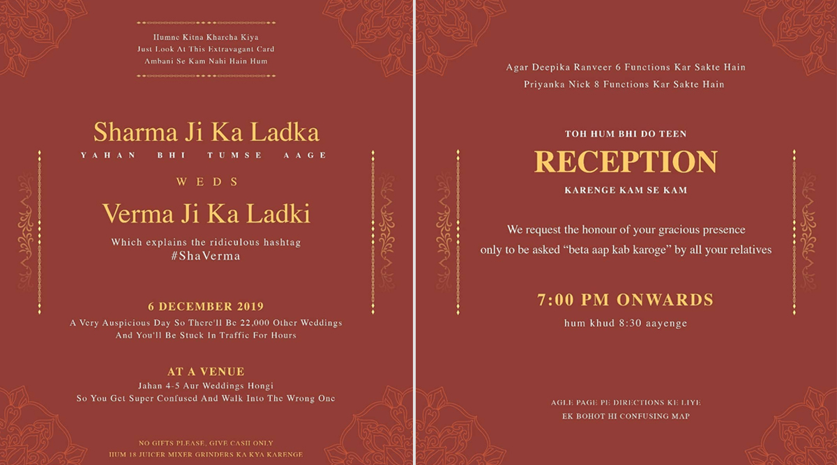 'Honest' Indian Wedding Invitation Card: Comedian Akshar Pathak's Parody Invite Has People Laughing Out Loud (View Viral Pics)