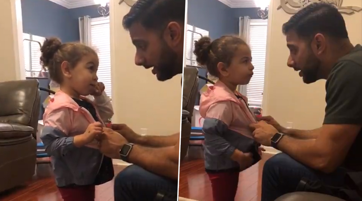 Baby Girl Steals Friend's Jacket, Viral Video of Adorable Banter Between Father and Daughter Delights the Internet