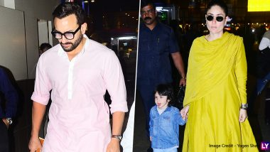 Saif Ali Khan, Kareena Kapoor Make a Stylish Appearance While Son Taimur Sticks His Tongue Out Adorably! (View Pics)