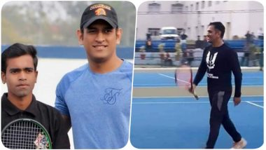 MS Dhoni Spotted Playing Tennis at JSCA, Might Participate in a Local Tennis Tournament (See Pics)