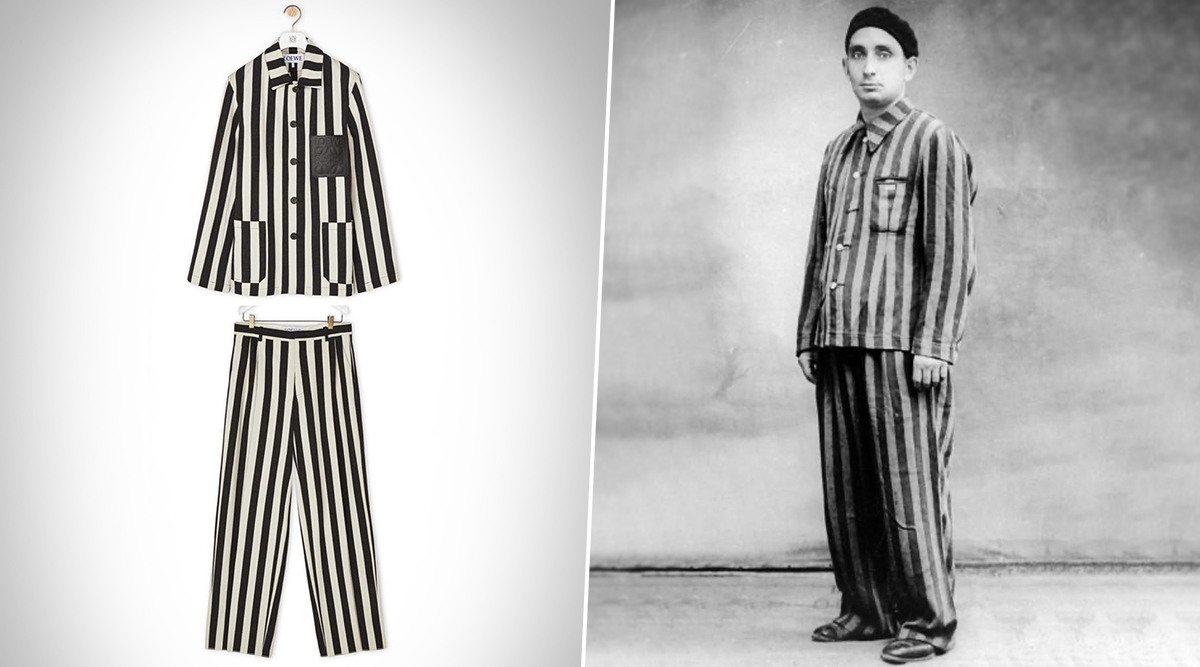 Spanish Luxury Fashion Brand Loewe Pulls Out White and Black Stripe Workwear Jacket Outfit That Resembles Nazi Concentration Camp Uniform (View Pics)