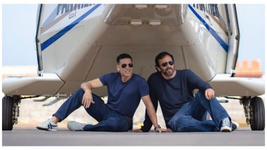 Akshay Kumar And Rohit Shetty Pose With A Chopper On The Last Day Of Sooryavanshi Shoot (See Pic)