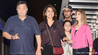 Ranbir Kapoor Spotted with Parents Rishi-Neetu, Sister Riddhima and Niece Samara After Dinner! (View Pics)