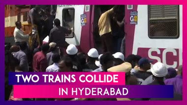 Two Trains Collide At Kacheguda Railway Station In Hyderabad