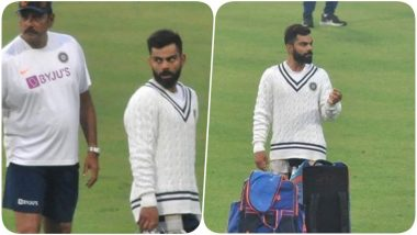 Virat Kohli Flaunts Many Moods As he Sweats it Out With Team India Ahead of IND vs BAN, Day and Night Test Match (See Pics and Videos)