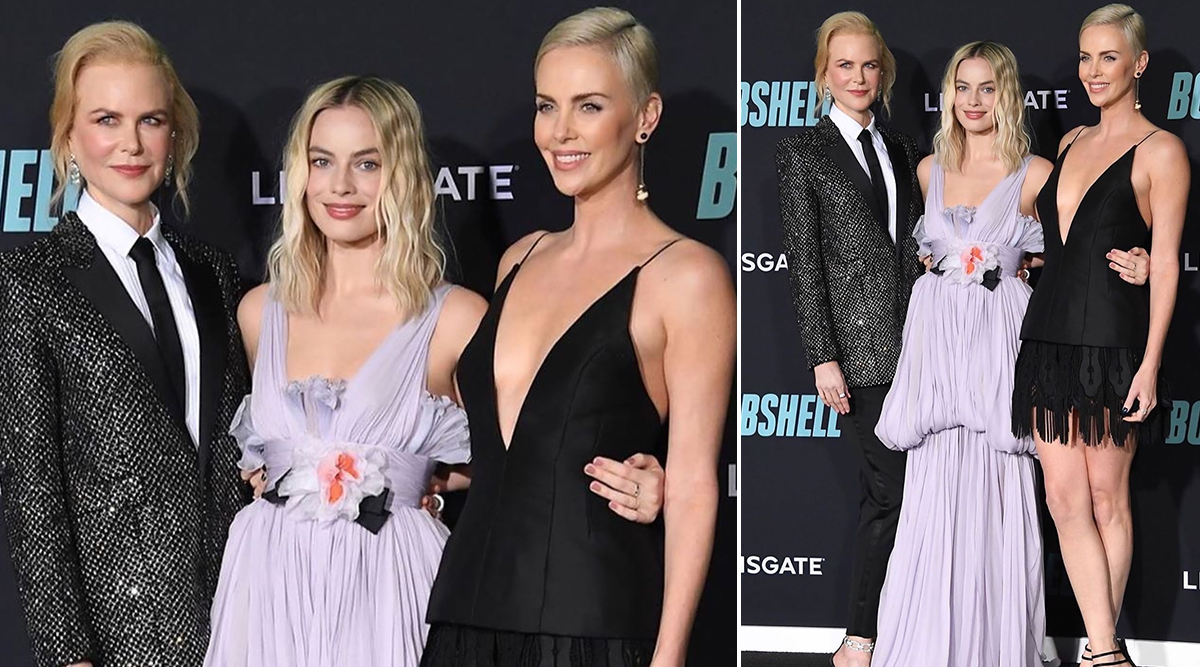 Margot Robbie Channels her Inner Greek Goddess While Charlize Theron and Nicole Kidman Cast a Black Spell at Bombshell Premiere (View Pics)