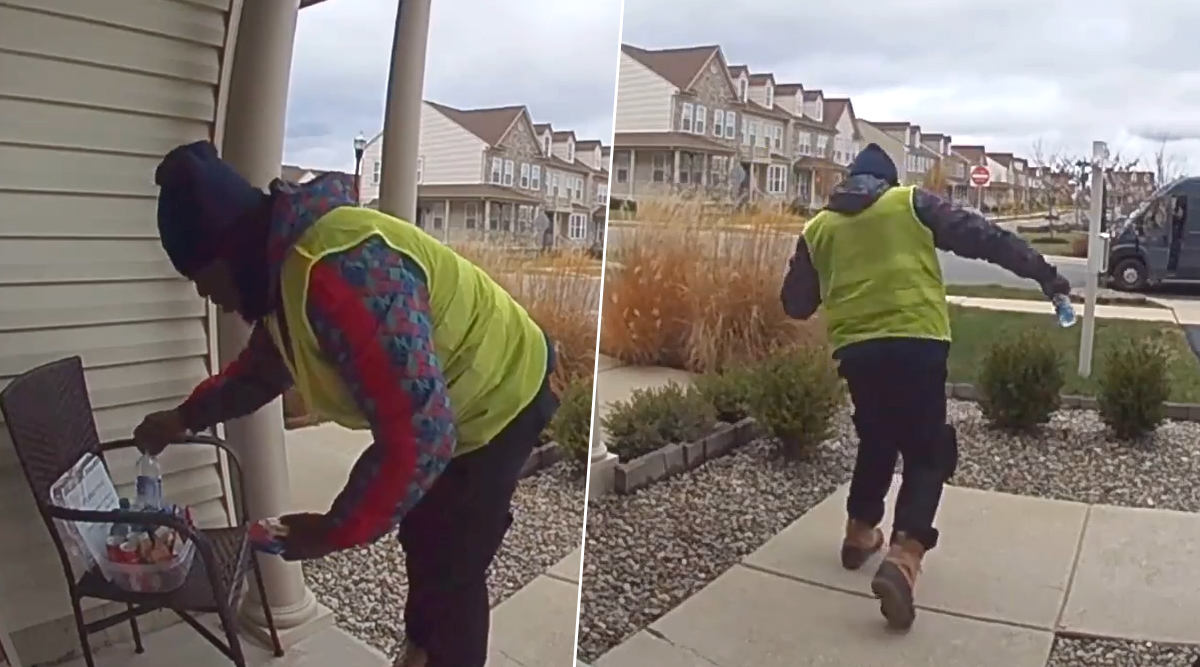 Amazon Delivery Driver's Happy Dance After Recieving Surprise Treats Goes Viral; Netizens Can't Stop Smiling! (Watch Video)