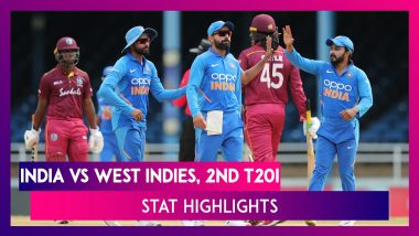 IND vs WI Stat Highlights, 2nd T20I 2019: Lendl Simmons Helps Windies Level Series
