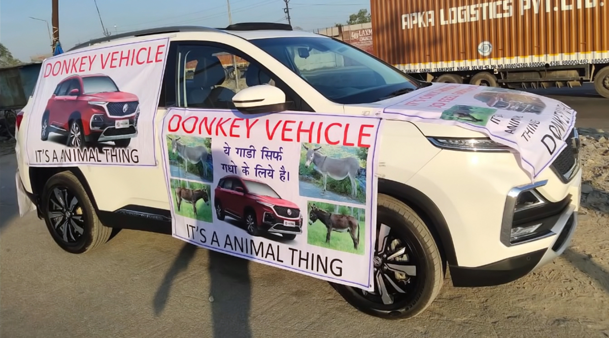 Unhappy MG Hector Customer Uses Donkey To Pull Premium SUV; MG Motor India Comes Clean & Takes Action Against Customer For Referring SUV As 'Donkey Vehicle' - Watch Video