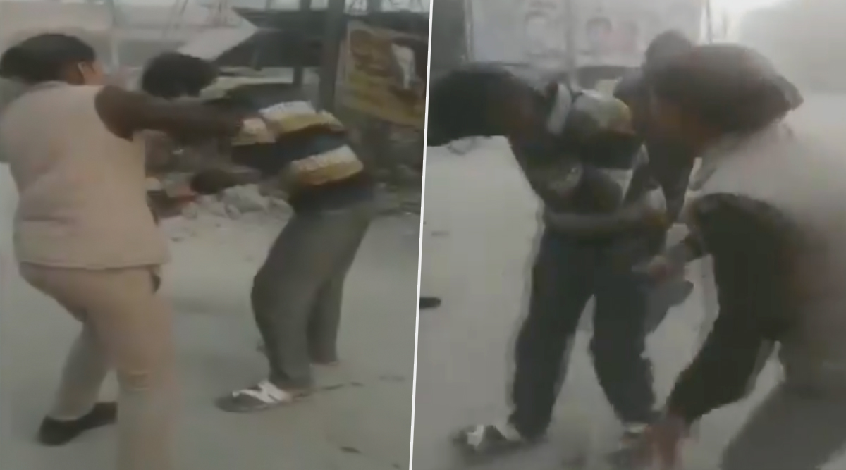Uttar Pradesh: Woman Cop Thrashes Man With Shoe for Harassing School Girls in Kanpur; Watch Video