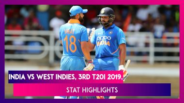 IND vs WI Stat Highlights, 3rd T20I 2019: KL Rahul, Virat Kohli & Rohit Sharma Help India Win Series