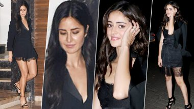 Blazer Game and Lacy Hem! Katrina Kaif and Ananya Panday Give a Chic Touch to their Little Black Dress (View Pics)