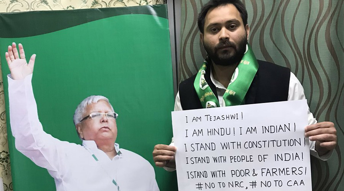 Tejashwi Yadav Joins Anti-CAA Protests, Tweets Picture With Poster Reading 'I am Hindu, I am Indian'