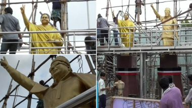Jayalalithaa 3rd Death Anniversary: Statue of 'Amma' Erected Next to AIADMK Founder MG Ramachandran's Statue at KK Nagar, DMK Wants It Removed
